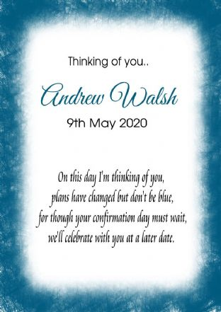 Thinking of you Communion or Confirmation Postponed Card Blue